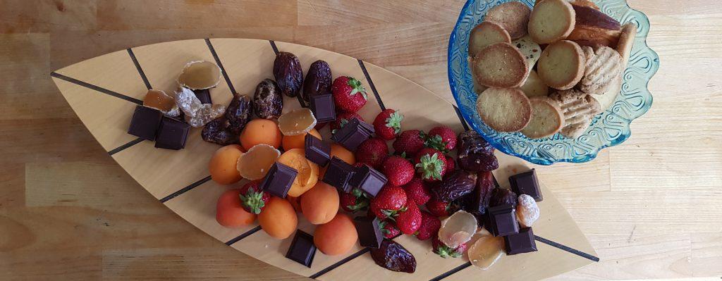 cookies, dried fruit, nuts, chocolate