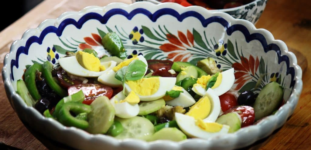 eggs, anchovies, cucumber, cherry tomatoes